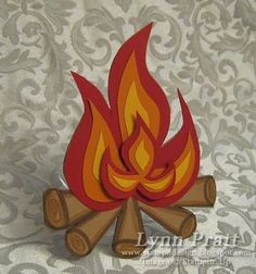 Bonfire Card with free template.  Great for a camp out invite.