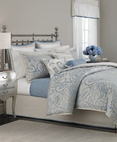 Time for a room redo? Give your bedroom a brand new look with our pastel blue, ivory, and cream-colored Gemstone Paisley comforter set. Shop the Martha Stewart Collection only at Macy's.