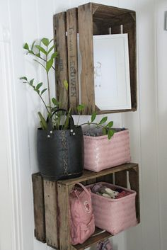 Crates on wall