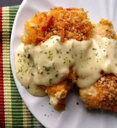 Crispy cheddar chicken that uses crushed Ritz crackers for the breading and cream of chicken soup for the sauce.