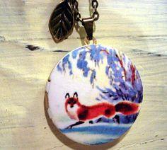 WINTER FOX LOCKET  enameled with long necklace by VillaSorgenfrei, $24.90