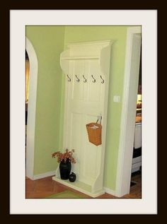 A $22 Door From Lowes...Add Some Trim ... Crown Molding And Paint =What An Awesome Hall Tree You Have!!!***~~