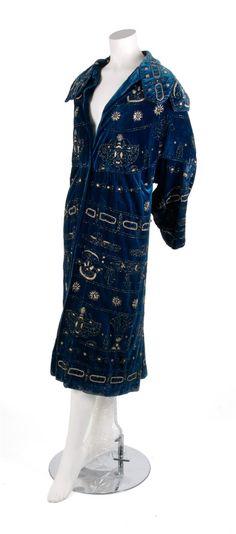 A Blue Velvet Egyptian Revival Coat, 1920's
