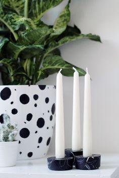 DIY Black Marble Candle Holders
