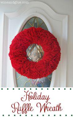 Ruffle Wreath | A fun and easy to make Christmas Wreath! on wineandglue.com