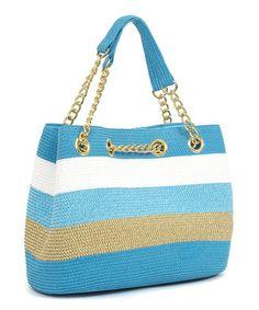 Loving this Turquoise & White Wide Stripe Satchel on #zulily! #zulilyfinds