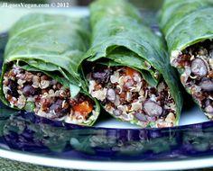 make ahead meals, black beans, collard greens, collard green wrap, credit cards