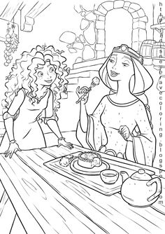 Brave coloring pages along with many other Disney characters.