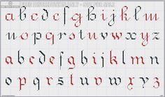 DMC Alphabet de la Brodeuse, c. 1890, page 13. Two lowercase alphabets, A-Z, one more script and one more blocky, slightly gothic.