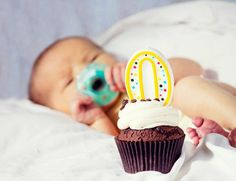 "Take a cupcake and a ""zero"" candle to the hospital to celebrate baby's birthday!"