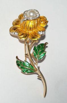 Trifari Enamel Rhinestone Floral Pin/Brooch $45