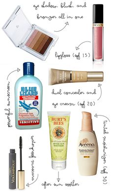 Beach Make-Up  (Remember the Aveeno Tinted Moisturizer and Burt's Bee's After Sun Soother)