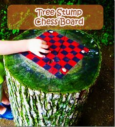 Tree Stump Chess Board- I have the perfect stump for this