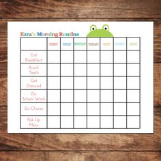 Printable Personalized Morning Routine Chart