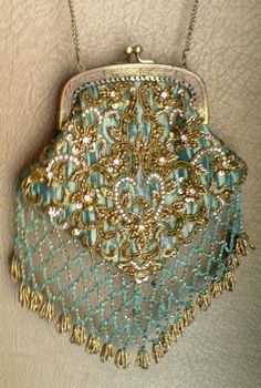 Aqua and gold beaded bag, love!
