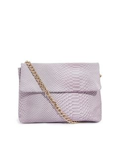Leather Embossed Shoulder Bag with Chunky Chain Strap