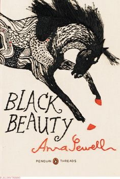 Illustration by Jillian Tamaki for Penguin USA. This book cover was embroidered by hand. Black Beauty by Anna Sewell.