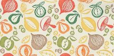 For the kitchen. Portobello (210225) - Sanderson Wallpapers - A classic kitchen design with simple, bold almost potato-print effect vegetable shapes with a shaded effect as if hand printed. Shown in the red orange and green on an off white background. Please request sample for true colour match. Wide width.