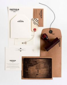 beautiful, simple identity that is all letterpress or rubber stamp