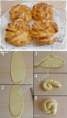原来这种面包是这样卷出来的,学习了  转