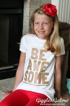 Be Awesome T-shirt   www.gigglesgalore.net #designspacestars #cricutexplore