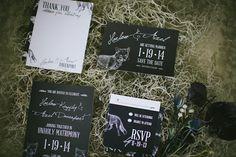 black wedding invitations, photo by Rach Lea Photography http://rufflebdlog.com/halloween-oddities-inspiration-shoot #weddinginvitations #halloween