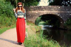 red maxi, crop top, maxi skirts