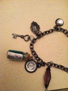 Drink Me Alice in Wonderland Charm Bracelet