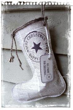 Christmas craft ideas news paper boot stocking