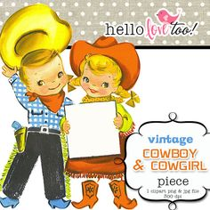 $2.50 digital clipart - vintage cowboy & cowgirl clipart piece - scrapbooking, invitation design, party printables, card and stationery making
