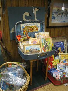 Using vintage suitcases to display merchandise