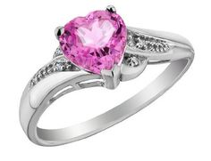 Pink Sapphire Heart Promise Ring with Diamonds 7/8 Carat (ctw) in 10K White Gold