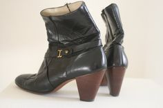 1960s Black Ankle Boots // Vintage Mod Boots by Hill and Dale (size 7). $58.00, via Etsy.