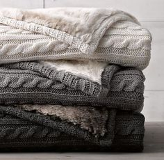 cable knit blankets. love.