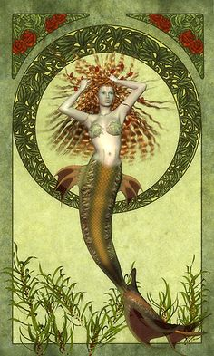 The first known mermaid stories appeared in Assyria, ca. 1000 BC. Atargatis, the mother of Assyrian queen Semiramis, was a goddess who loved a mortal shepherd and in the process she accidentally killed him. Ashamed, she jumped into a lake to take the form of a fish, but the waters would not conceal her divine beauty. Thereafter, she took the form of a mermaid; human above the waist, fish below.