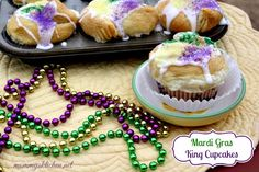 Mardi Gras - King Cake Cupcakes food recipes, southern cupcakes, pancak, cake cupcak, cookie dough, crescent rolls, baking, mardi gras, king cakes