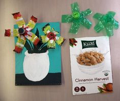 acrylics, cereal boxes, craft idea, recycl art, blog, recycled crafts, recycled art, kid, water bottles
