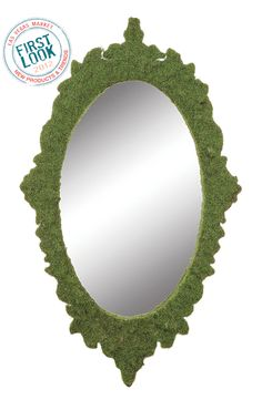 Lawn party at #lvmkt = A faux moss finish gives Creative Co-Op's new #mirror its manicured look. It's 19.75 inches high. #LVMKT2012