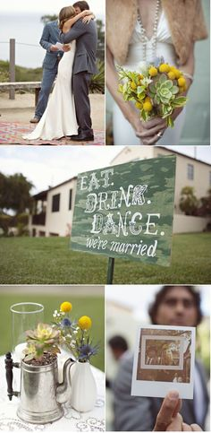 """love the saying on the sign """" Eat, Drink, Dance- We're Married"""""""