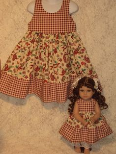Holly Checks  Matching dress for Child sz 3 4 5 American Girl / Bitty Baby sewnbyrachel, $29.99