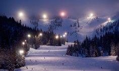 America's largest night ski area, Mt. Hood Skibowl, lights up 34 runs at night.