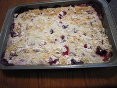 Quick Cobbler:  Frozen fruit, dry cake mix, and a can of soda.  Really?