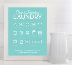 Guide to Procedures: Laundry -  Retro, Mid Century, Laundry, Room, Symbols, Rules, Sign, Decor, Art, Wall, Mid-Century Midcentury, Art Wall