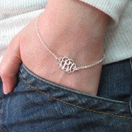 Monogram Bracelet Sterling Silver Personalize 3 by ChicTags, $45.00  @Adriana Partlow and @Jessica Rice, please help Mom find this in my new initials.  Love Mom