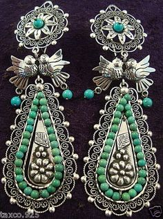 Taxco Mexican Sterling Silver and Turquoise Bead Earrings
