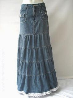 Tiered jean skirt, ruffled hem.