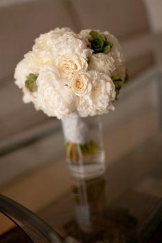 White w/ succulent bridal bouquet.