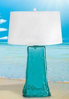 ahhhh.... *Aqua/ *Teal Wave Glass Lamp w/ complimenting Beach backdrop ~ Nice!