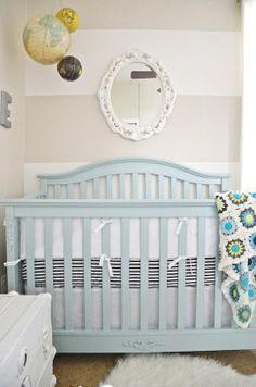 Blue crib +striped bedding + walls