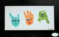 idea, boy rooms, handprint art, hand prints, little monsters, monster craft, handprint craft, kid craft, handprint monster